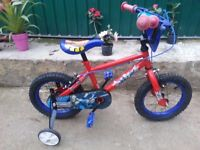 """KIDS BOYS CHILDREN SPIDERMAN 14"""" WHEEL WITH STABILISERS AGES 3-8 BIKE BICYCLE"""