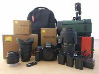 Nikon D610 DSLR Full Frame Camera Kit (18-35, 50, 70-200 Lens, Tripod, Remote, bag) Great Condition