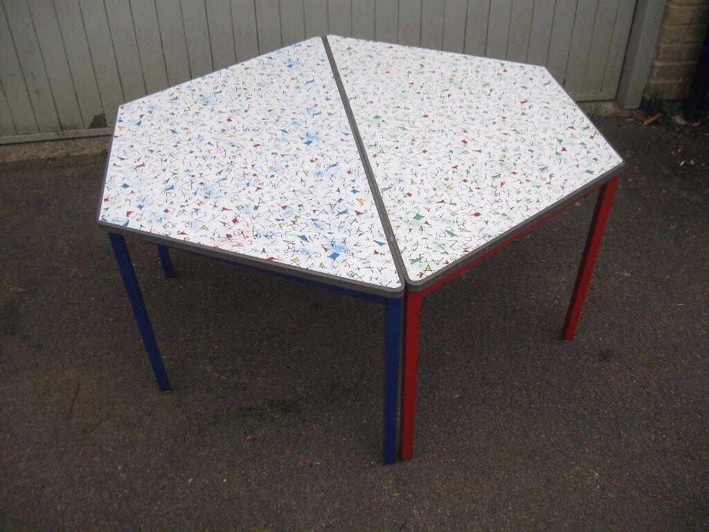 Pair vintage colourful infant school work tables 1960s