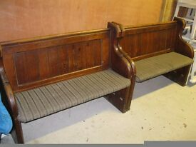 4ft OLD CHURCH PEW. Delivery possible. ALSO CHAPEL CHAIRS & SETTLES.