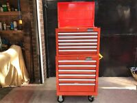 Halfords Industrial 6 Drawer Ball Bearing Tool Cabinet + Chest NEW Orange