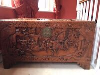Antique chinese wooden trunk - excellent condition with detailed carving