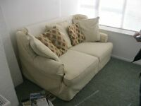 MODERN ORNATE STYLISH CREAM SOFA BED. 2 SEATER SOFA INTO LARGE SINGLE/SMALL DOUBLE BED & MATTRESS.