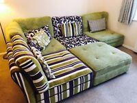 Funky Designer (A La Mode) Green & Purple Fabric Corner Sofa Suite with Footstool