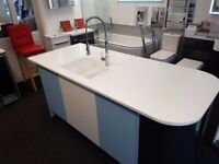 kitchen island for sale with solid acrylic worktop and moulded sink £650