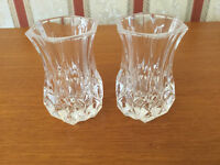 2 Very Pretty Little Thistle Shaped Crystal Posy Vases / Candle Holders