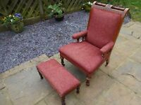Late Victorian antique fireside chair & foot stool.