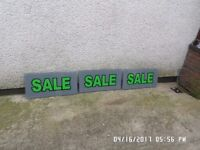 2,, Perspex sale signs ,760m by 380m by 6m in good condition with drilled holes on each