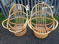 Cane Conservatory Swivel and Rocker Chairs