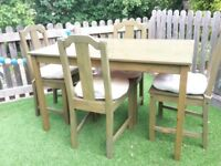 Green IKEA Four Seater pine table and chairs