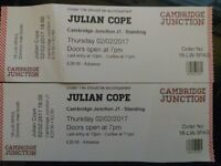Julian Cope 2 x tickets Cambridge Junction 2 Feb 2017