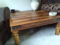 Dark wood TV unit, large dark wood coffee table and small darkwood coffee table