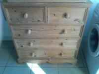solid chunky pine chest of drawers