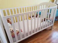 Mamas and Papas Fern nursery furniture set (White) - cot bed, wardrobe, drawers w changing station