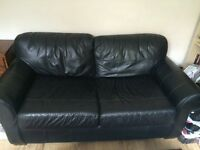2 seater black faux leather sofa bed sofa with matching single chair