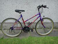 Raleigh spritz ladies bike 26 inch wheels, 19 inch frame, 15 gears, purple