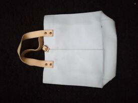 Small leather blue and white bag