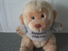 """Cute Cuddly Monkey wearing a Light Blue top saying """"I'm Bananas Over You"""""""