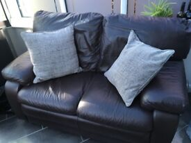 chocolate brown 'FORME' Italian leather two seater and arm chair for sale lovely condition