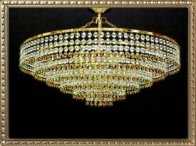 Gold 50cm Diameter Lead Crystal Glass Chandelier Lighting Ceiling Light
