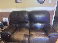 3 piece suite leather reclining sofa set
