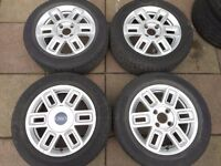 "FORD FUSION, FIESTA ZETEC ST, PUMA, KA 15"" inch ALLOY WHEELS WITH TYRES"