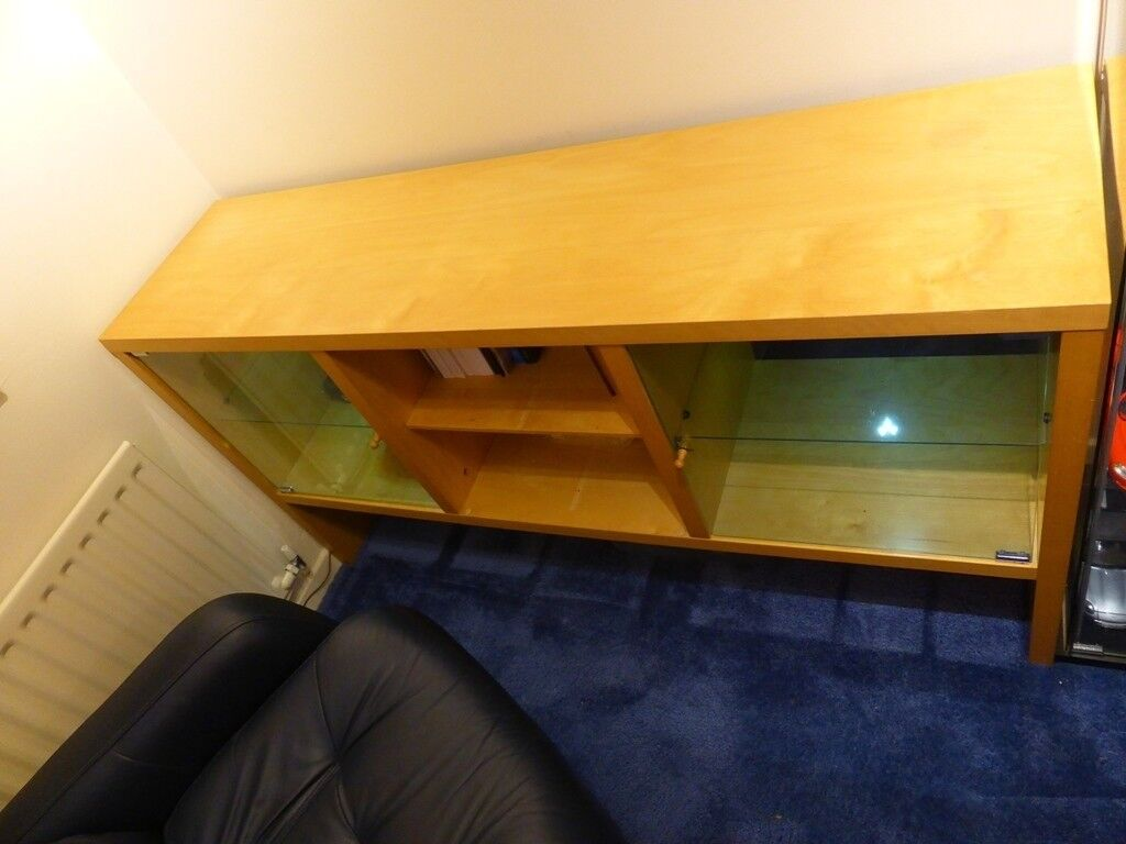 Ikea Light Wood Display Cabinet Sideboard Unit With Led Lights In