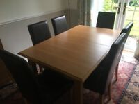 Dining table with 6 chairs and display cabinet