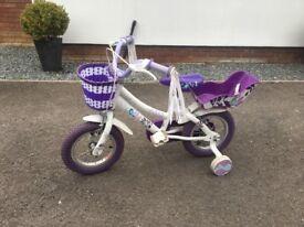 Childs white and purple bike