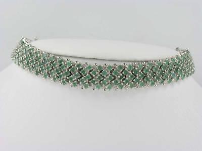 Emerald & Silver Bracelet 195 Emeralds 13.65 CTW