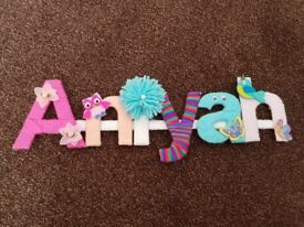Colored letters and felt decorations