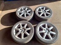 "Genuine Honda Sport 17"" Alloy Wheels & Very Good Tyres 5x114.3 pcd Hyundai, Kia, Mazda etc"