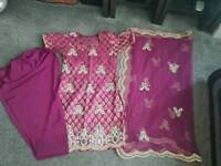 Indian Punjabi Ladies Women's Pink Purple Suit Size 8. Anarkali Duppata Lengha Sari Saree