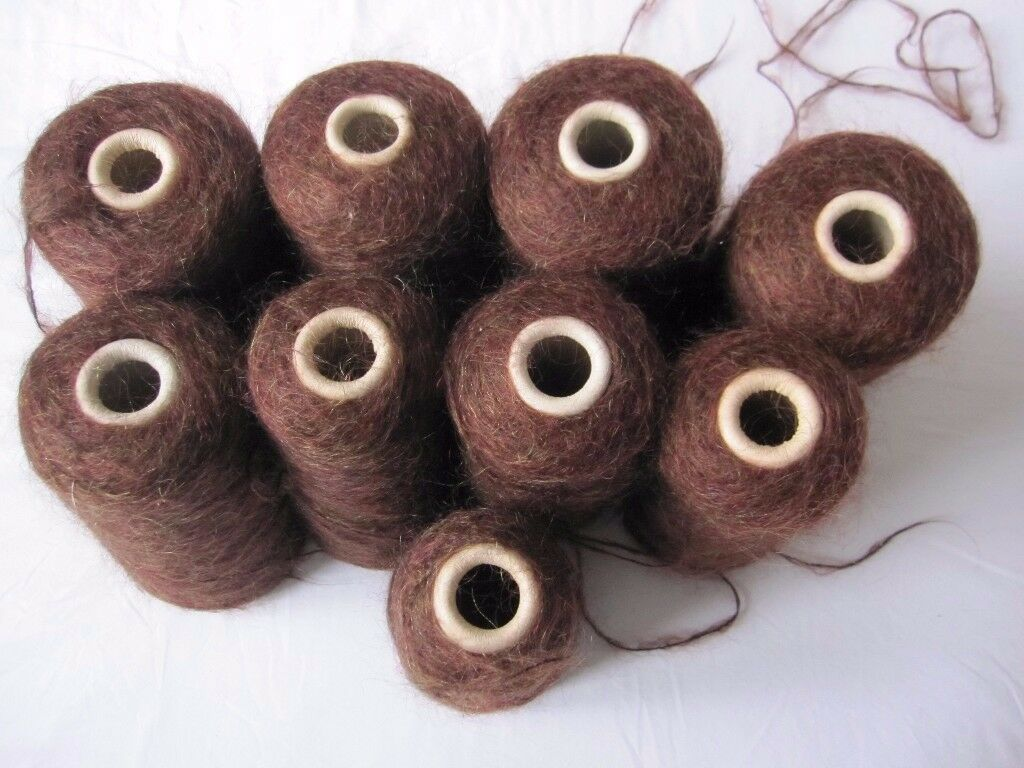 Cones of Mohair yarn