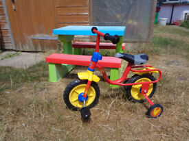 CHILD'S PICNIC TABLE & FIRST PEDAL BIKE