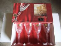 12 Lead crystal wine glasses. Unused.