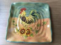 Terra Rooster plate, bowl and jar