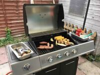 Gas BBQ Steel Barbecue With Lockable Wheels & Auto Ignition (4 x Burners and 1 x Side Burner)