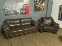 Leather brown Two Piece 2 & 1 sofa set comfy can deliver