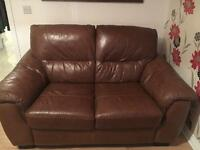 2x dfs brown leather couches