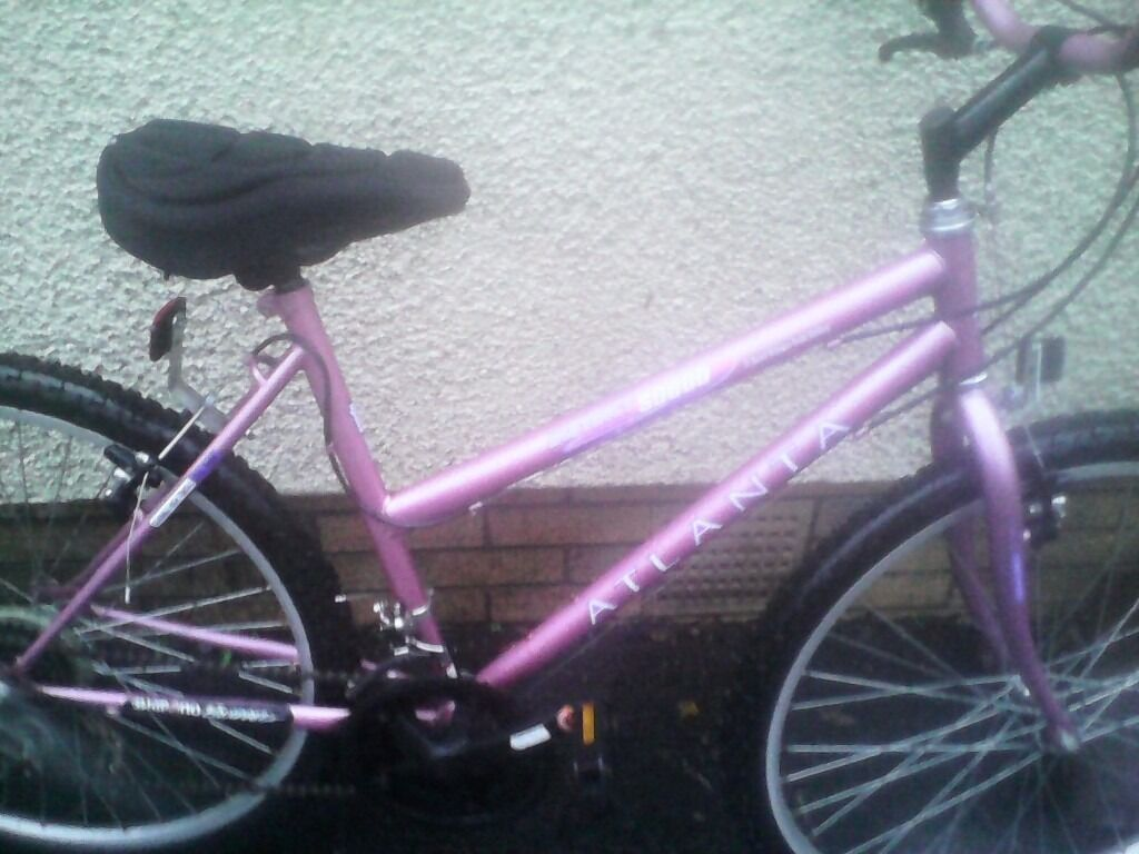 ATLANTA LADIES MOUNTAIN BIKE,18 INCH FRAME,26 INCH WHEELS,18 GEARS,GOOD TYRES,GEL SEAT,JUST SERVICEDin Hillhead, GlasgowGumtree - ATLANTA LADIES MOUNTAIN BIKE, 18 INCH FRAME,26 INCH WHEELS 18 GEARS GOOD TYRES,GEL SEAT JUST BEEN SERVICED,AND READY TO USE PLEASE PHONE OR TEXT THANKS CRAIG