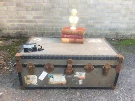 GENUINE VINTAGE TRUNK CHEST FREE DELIVERY COFFEE TABLE CUNARD