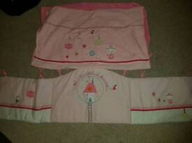 Cot bumper and matching blanket