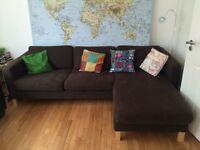 Sofa, Ikea 'Karlstad', brown cover