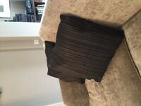 """Black satin stripe scatter cushions 22"""" x 2. Feather interior"""