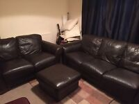 BROWN LEATHER 3+2 SEATER+FOOTSTOOL FOR SALE - MUST GO ASAP - FREE DELIVERY - £375