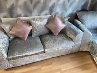 Crushed velvet sofa 3 seater + arm chair + footstool