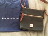 Dooney and bourke pebble leather letter carrier crossbody handbag in navy