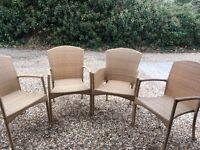 4 Rattan Look Chairs