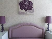 """Headboard double 4'6"""" beautifully upholstered in a quality fabric in excellent cond -NOW REDUCED"""